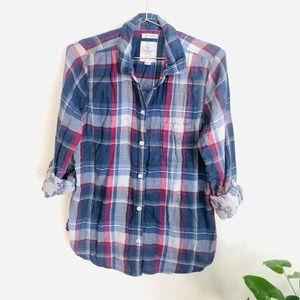 American Eagle S plaid boyfriend button down Shirt